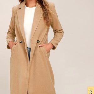 Lulus Harriet Long Double Breasted Tan Coat